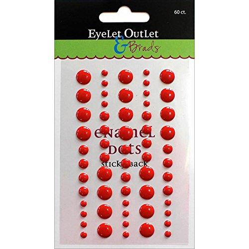Eyelet Outlet Adhesive-Back Enamel Dot (60 Pack), Red