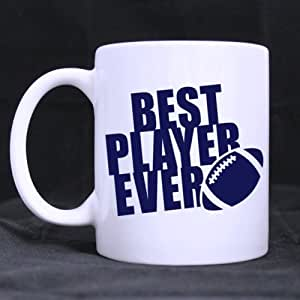 "White Ceramic Mug - Love Sport Football ""BEST PLAYER EVER"" Coffee/Tea Simple Mugs 11 Ounces Unique Self-use / Gift / Homeware / Mug Choice"