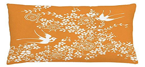 - Japanese Throw Pillow Cushion Cover, Oriental Floral Japanese Style Flying Birds Asia Pastel Colored Spring Pattern, Decorative Square Accent Pillow Case, 30 X 20 Inches, Marigold White