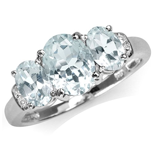 - 1.76ct. 3-Stone Genuine Blue Aquamarine & White Topaz Gold Plated 925 Sterling Silver Ring Size 8