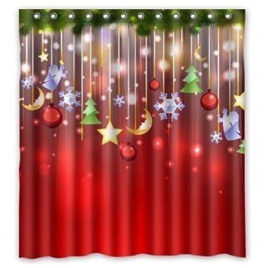 ZHANZZK Merry Christmas Xmas Tree Snowflake Shower Curtain 66x 72 Inches