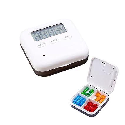 KOBWA - Pastillero Digital con 5 recordatorios de Alarma, Organizador de Pastillas de Viaje Portátil
