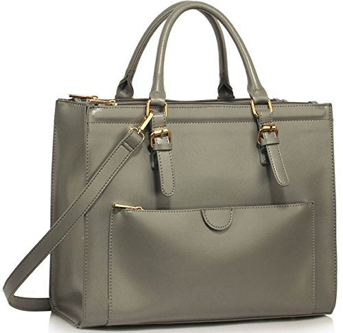 Designer Shoulder Handbags Leather Womens Ladies Tote Design Style Bags New 1 Grey Faux nfnwq1