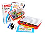 Quercetti Tecno - 80 Piece Building Set - Construct 2D & 3D Structures with Basic Tools, Screws, Nuts & Bolts in a Handy Carry Case (Made in Italy)