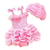 Jojobaby Baby Girls 2 Piece Lace Bikini Swimwear Swimdress With Hat (80cm(For 2-3 Years), Pink)