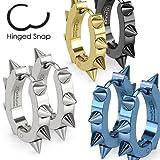 SBJ-0063 Pair of Stainless Steel IP U Shaped Hoop Earrings with Spikes