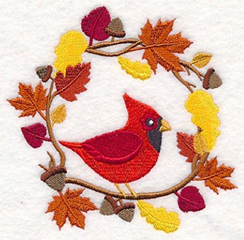 Embroidered Kitchen Towel Fall Foliage Woodland Cardinal Wreath Design