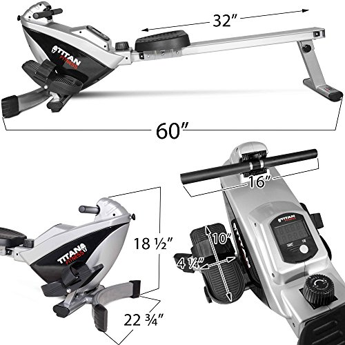Titan adjustable magnetic resistance rowing machine w lcd screen rower folds up saves space - Best cardio equipment for small spaces property ...