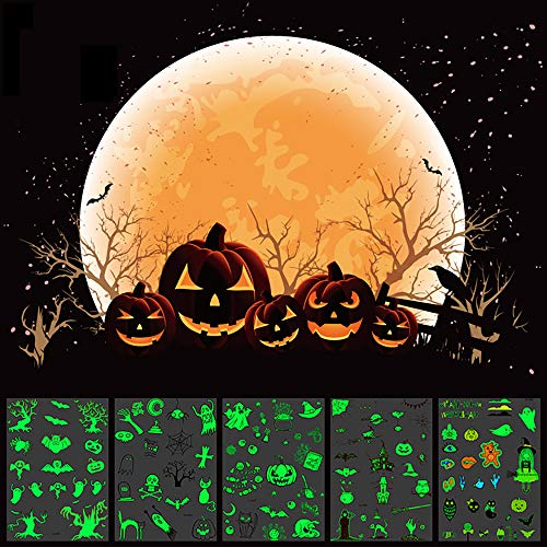Halloween Temporary Tattoos for Kids Glow in The Dark Tattoo Stickers Waterproof Birthday Party Favors Accessory Supplies 6 Sheets for Women Man Children]()