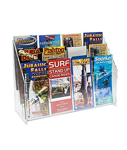 12 Pocket Magazine Holder - Source One 2 Pack Premium 12 Pocket Multi Brochure Holder Literature Display Clear Acrylic (S1-MLS12)