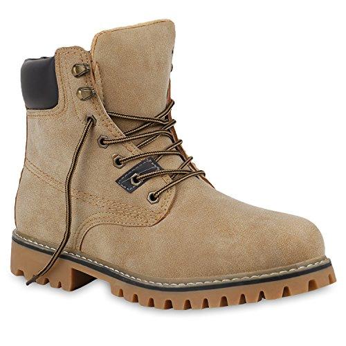 Stiefelparadies Herren Worker Boots Profilsohle Stiefeletten Gefütterte Outdoor Schuhe Schnürboots Wildleder-Optik Nieten Camouflage Flandell Creme