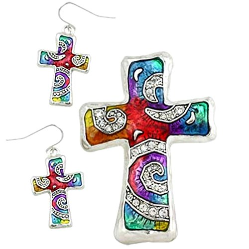 multi-color-cross-faith-rhinestone-pendent-with-earring-set-by-jewels-nine-by-serena