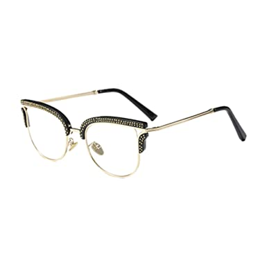 d314d4728e Hzjundasi Semi-Rimless Metal Frame Irregular Personality Eye Glasses Chic  Rivet Clear Lens Half Frame Eyewear Non-prescription Outdoor Optical Glasses  for ...