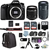 Canon EOS Rebel 80D Bundle With EF-S 18-55mm IS STM & EF-S 55-250mm IS STM Lenses + Canon 80D Camera Advanced Accessory Kit - Including EVERYTHING You Need To Get Started