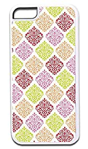 01-Colorful Damask Pattern- Case for the APPLE IPHONE 6 4.7'' ONLY!!!-Hard White Plastic Outer Case
