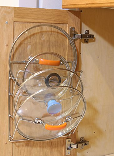 2 Pack - SimpleHouseware Cabinet Door/Wall Mount Pot Lid Organizer Rack, Chrome by Simple Houseware (Image #3)