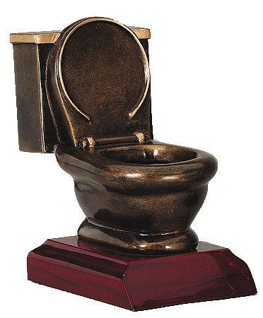 Decade Awards Gold Toilet Bowl Trophy - Engraved Plates by Request - 5 Inch Tall Perfect Last Place Award - Made of Heavy Resin Casting - for Loser Recognition (Football Resin Trophies)