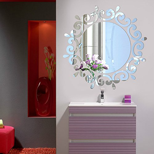Alrens(TM)Luxury Fancy Flower Lace Round Acrylic Crystal DIY 3D Stereo Wall Sticker Porch Ceiling Bathroom Wall Decals, Acted As a Mirror,Home Décor Decoration Art