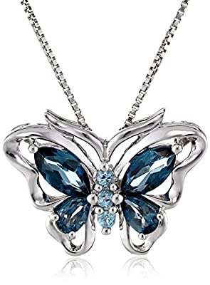 Sterling Silver Swiss and London Blue Topaz Butterfly Pendant Necklace, 18""