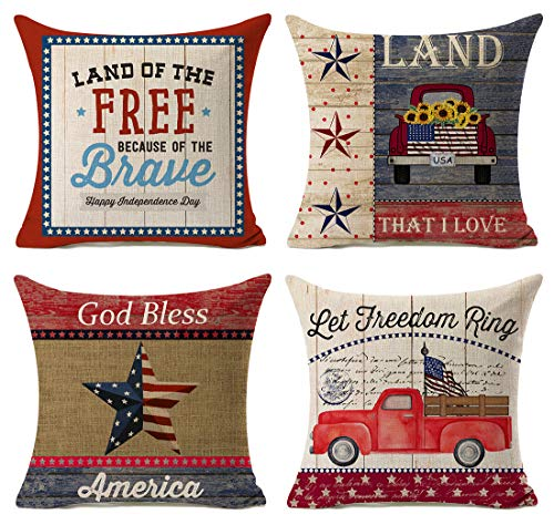 Kithomer Independence Day American Flag Pillow Covers 4th of July Patriotic Truck Throw Pillow Case Farmhouse Decorative Cushion Cover for Sofa 18