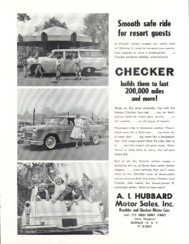 (Checker Smooth safe ride for guests car ad 1961)