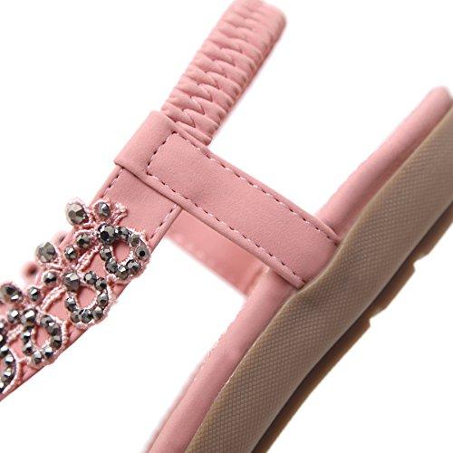 Damen Sommer PU Leder Bohemia Flach Sandalen 413 Rosa