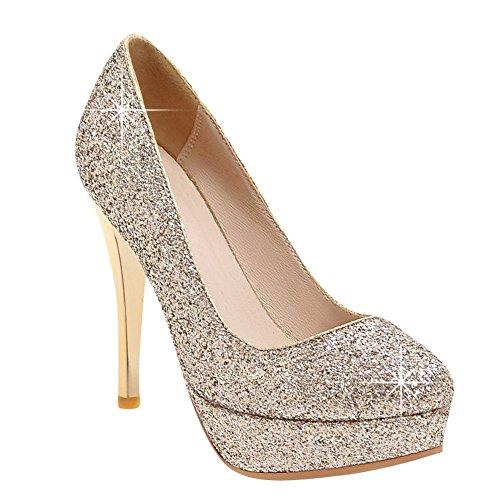 MissSaSa Damen elegant Pailletten Plateau-Pumps Gold(12)