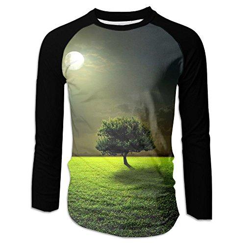 Mens Mysterious Moon Tree Classic Raglan Long Sleeve Tshirt Gym - Shopping Casuarina