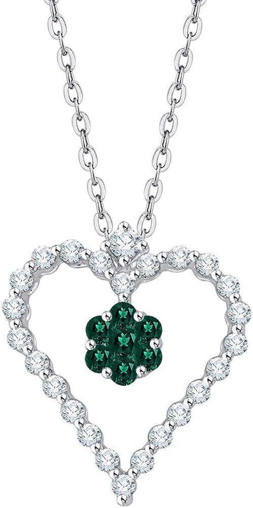 KATARINA Collar con colgante de corazón de esmeralda y diamante en oro o plata (3/8 cttw, G-H, I2-I3)
