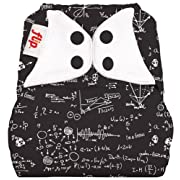 Flip Hybrid Reusable Cloth Diaper Cover with Adjustable Snaps and Stretchy Tabs - Fits Babies from 8 to 35+ Pounds (Moonbeam)