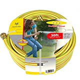 Worth 3 Stars 5/8 In. Dia X 50 Ft. Four-layer Yellow Garden Hose Ideal Indoor Outdoor Landscaping Watering Hose #5202