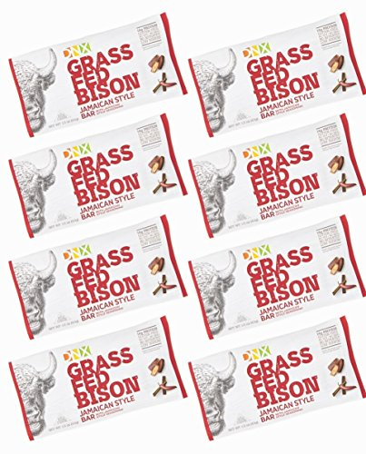 DNX Grass Fed Bison with Jamaican Spices, Organic Fruits and Veggies. Paleo Protein Bar. Whole30 Approved Nutrition. Epic Taste. Buffalo Meat Bar with NO Preservatives (8 Bars) Grass Fed Bison