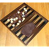 "19"" Handmade Wood & Mother of Pearl Inlaid Stained Wood Backgammon & Checkers et"