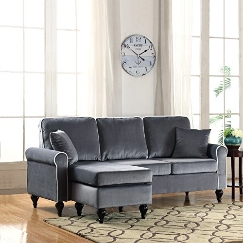 Classic and Traditional Small Space Velvet Sectional Sofa with Reversible Chaise (Grey) : small sectional sofas with chaise - Sectionals, Sofas & Couches