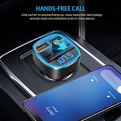 (2020 Upgraded New Version) Bluetooth FM Transmitter for Car, 7 RGB Color LED Backlit Radio Transmitter, QC3.0 Dual USB Ports Adapter Car Kit, Supports TF Card, USB Disk, Hands-Free Calling: MP3 Players & Accessories