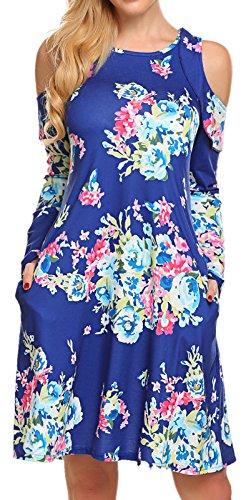 Swing Tunic Women Long Sleeve Floral Pockets Casual Midi Pleated T-Shirt Dress Blue S