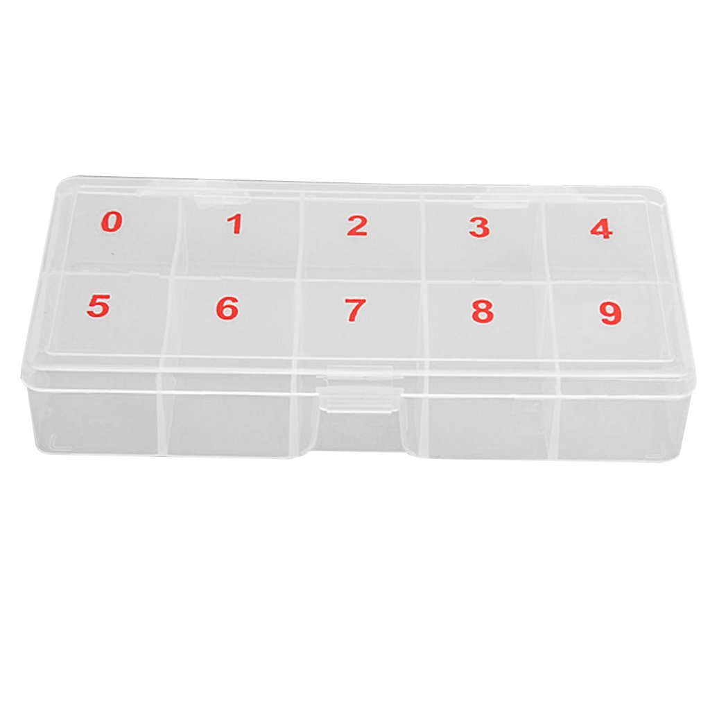MonkeyJack Empty Transparent False Nail Art Tips Rhinestone Storage Case Box Container 10 cells