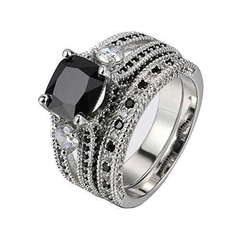 Zealmer Rhodium Plated Cushion Cut Split Shank Cubic Zirconia Black CZ Sapphire Bridal Ring Set 7
