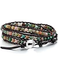 Alloy Genuine Leather Bracelet Bangle Cuff Rope Bead 3 Wrap Adjustable