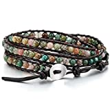 MOWOM Colorful Alloy Genuine Leather Bracelet Bangle Cuff Rope...