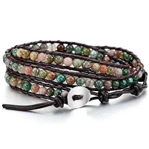 MOWOM Colorful Alloy Genuine Leather Bracelet Bangle Cuff Rope Simulated India Agate Bead 3 Wrap - India Shop