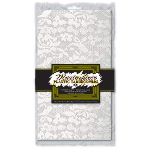 Masterpiece Plastic Lace Rectangular Tablecover (white) Party Accessory  (1 count) -