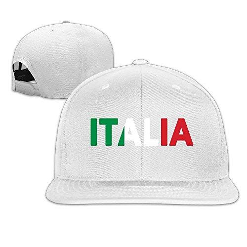 WHROOER Unisex Italia Italy Italian Flag Cotton Snapback Hip Hop Flat Tongue Hats Adjustable Baseball Caps For Outdoor Sport ()