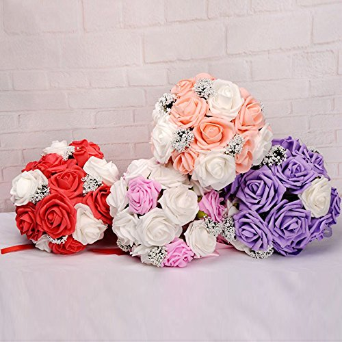 Transer Crystal Roses Pearl Bridesmaid Wedding Bouquet Bridal Artificial Silk Flowers (Orange)