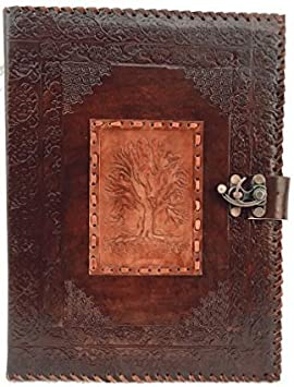 Blf Vintage relieve hechas a mano árbol de la vida Cartera Portadocumentos De Piel reanudación Pad