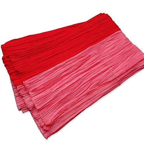 観光に行くタイト広いレディース へこ帯 兵児帯 (長尺) 日本製 ツートンカラー プリーツ柄 赤xピンク
