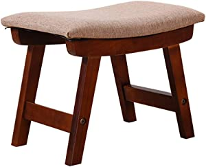 Solid Wood Pouf Stool Simple Ottoman Fabric Footstool Nordic Small Furniture Fabric Footstool Shoe Bench Sofa unassembled (Brown)