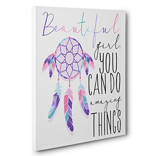 Beautiful Girl You Can Do Amazing Things Motivational Canvas Wall Art by Paper Blast