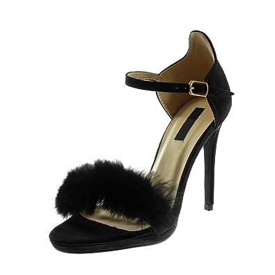 Dettagli su Donna Stiletto Alto Tacco Medio Sandali Pelo Cinturino Alla Caviglia