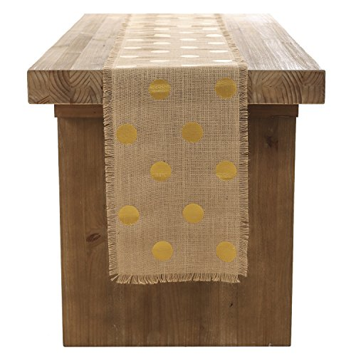 Ling's moment 14x72Inch Gold Polka Dot Table Runner on Natural Jute with Fringe Edge for Rustic Country Vintage Wedding Summer Bridal Baby Shower Party Table Cover Decoration